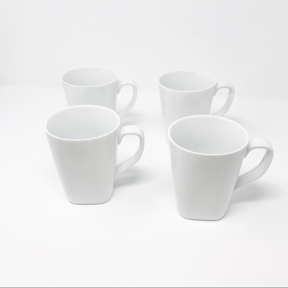 THRESHOLD SQUARE MUGS SET OF 4 WHITE PORCELAIN